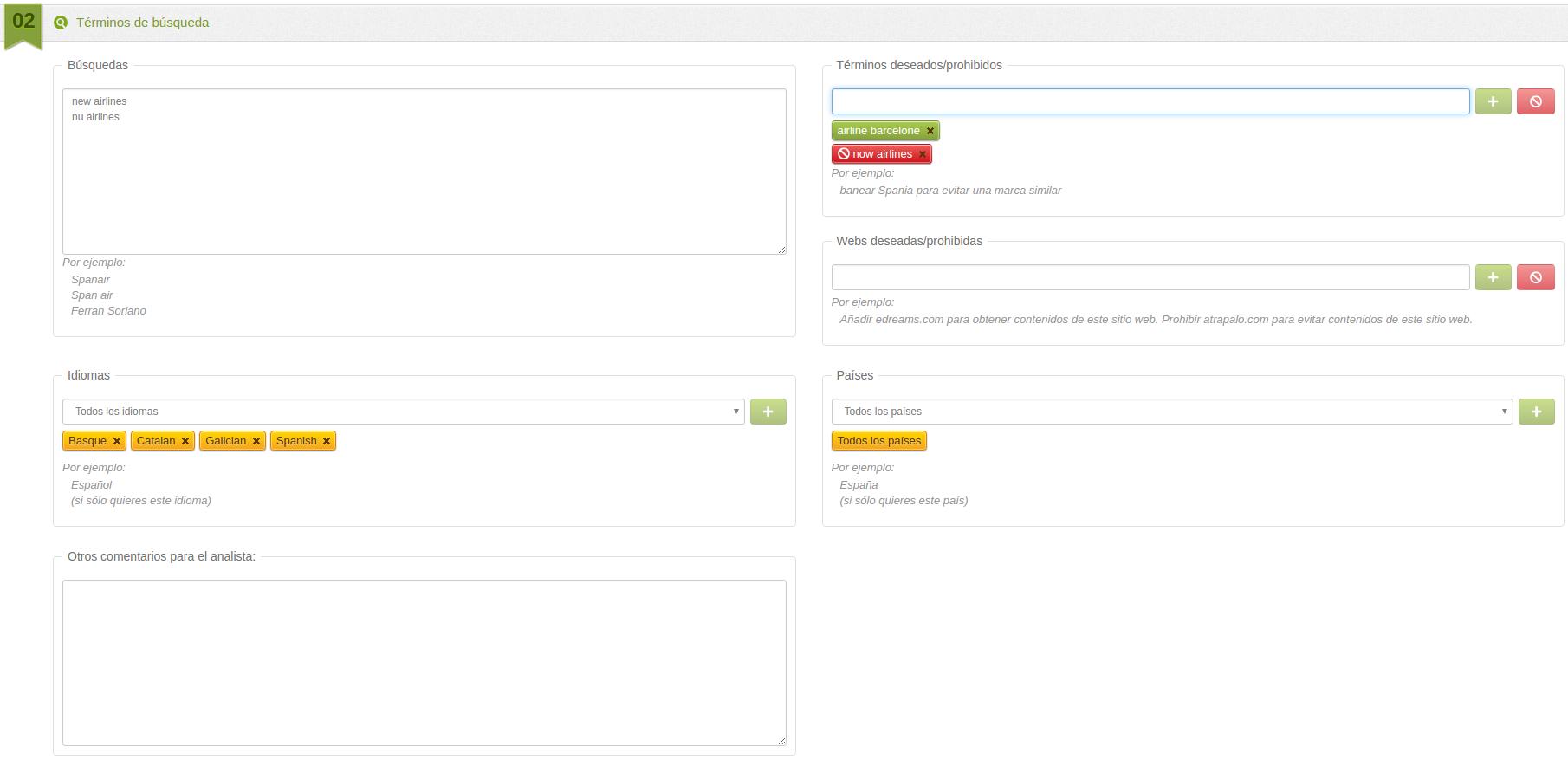 configuración perfil websays