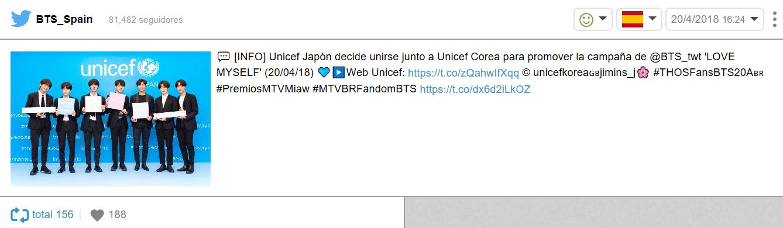 Tweet relativo a la unión de Unicef, BTS y Big Hit